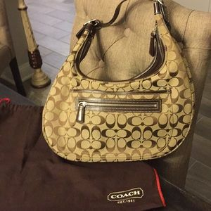 Authentic Coach Tan and Brown Hobo Bag